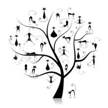 Drzewo rodziny kotów, 27 czarny silhouettes funny