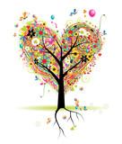 Happy holiday, heart shape tree with balloons