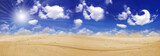 Endless desert and clouds on sky poster