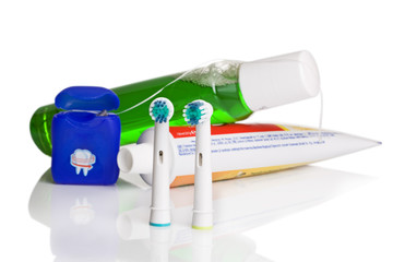 Oral hygiene - floss, toothpaste, toothbrush, mouthwash