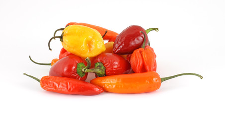 Group of colorful chili hot peppers