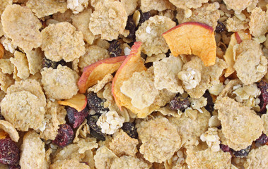 A close view of cranberry and raisin granola cereal