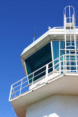 Aerodrome control tower with ladder