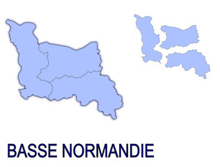 carte région basse normandie France départements contour