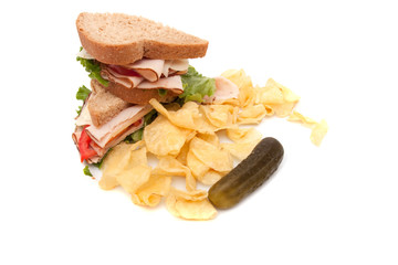 Turkey sandwich with potato chips