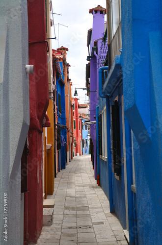 Narrow alley on the Burano island