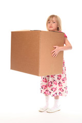 Young little girl holding box