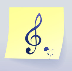 musical key on sticky paper, vector