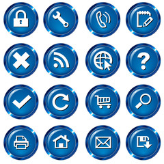 Web Button Icon Set - Blau