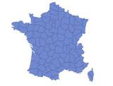 carte France départements contour