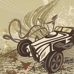 Hot Rod Retro Car Background