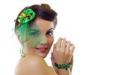 woman wearing a green brooch poster