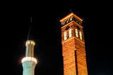 Sarajevo, Bosnia - Historical minaret and watchtower -nightshot poster