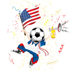 United States of America Soccer Fan with Ball Head.