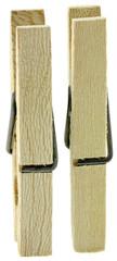 duo de pinces à linge en bois, fond blanc