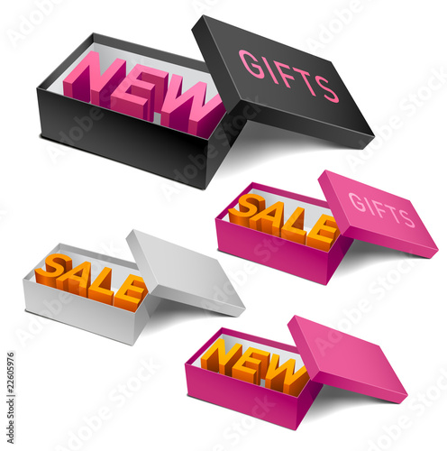 Four realistic empty boxes with promotional words. Vector.