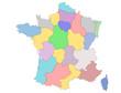 carte des régions de france en couleur vierge