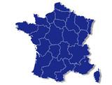 carte des régions de france bleue contour blanc vierge