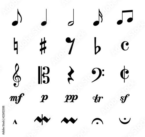 Zeichen Symbole Noten Musik