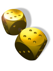 Two golden dice and winner's result