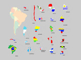 Vector map of south america poster