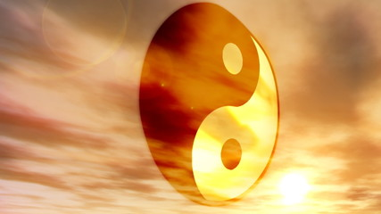 (1183) Buddhist Chinese Yin and Yang Philosophy Flag with Sunset