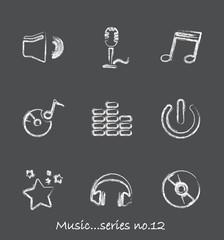 Music chalkboard icons...series no.12