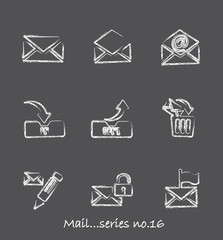 Mail chalkboard icons...series no.16