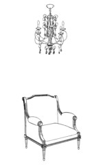 Antique Armchair And Chandelier Vector 03