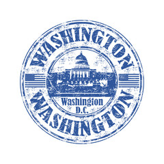 Washington grunge rubber stamp
