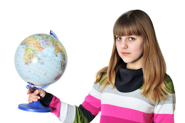 teen girl holding globe