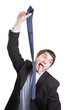 Hang tie suicide of businessman with long tongue