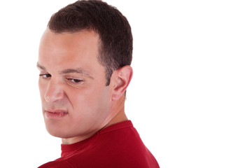 man to turn around, looking with contempt