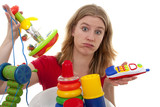 woman with lots of toys over white background