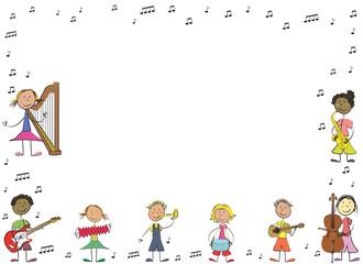 enfants musique affiche paysage