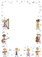 enfants musique affiche portrait