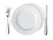 Leinwandbild Motiv Place setting with plate, knife and fork