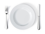 Fototapety Place setting with plate, knife and fork