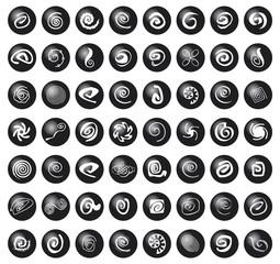 spirali e decorazioni su bolle nere