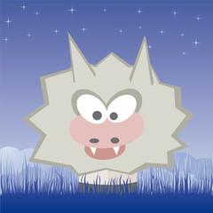 wolf on the field vector illustration cartoon