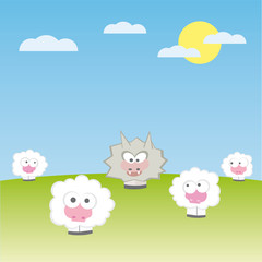 sheep with wolf on the field vector illustration cartoon