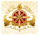 Travel and adventures vintage emblem with golden compass rose poster
