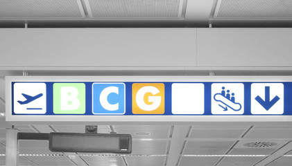 Direction signs at airport