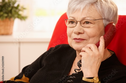 Portrait of senior lady on phone - 22631989