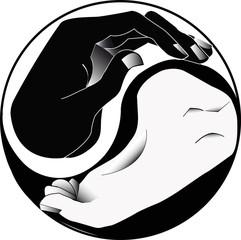 Hand-Fuß-Ying-Yang-Vektor