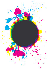 Grunge CMYK paint splatter circle