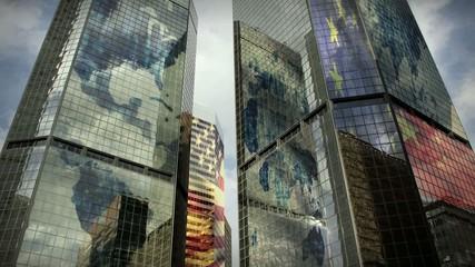 (1186) City Skyscrapers Business Office Buildings Flags LOOP