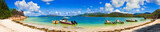 Panorama of beach on island Curieuse at Seychelles - 22641194