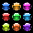 colorful glossy buttons on black