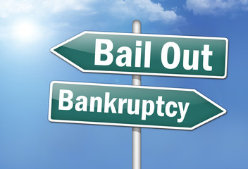 """Way Signs """"Bail Out - Bankruptcy"""""""